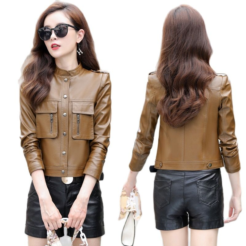 2021Autumn Leather Jacket Women Outwear Faux Leather Short Coats For Women Plus Size Slim Short Tops Women's Leather Jacket coat