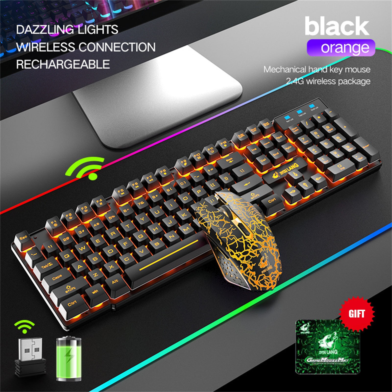 2.4Ghz Bluetooth Wireless Gaming Keyboard and Mouse Combo Set with Rainbow LED Backlit Rechargeable Wireless Charging Keyboard enlarge