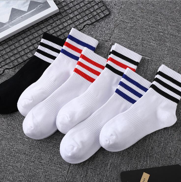 ¡Novedad de las cuatro estaciones! Calcetines para hombre de tubo para estudiantes de tres bares, calcetines de deporte a rayas para hombre