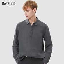 Markenlose Herren Lose Leinen Atmungsaktive Shirts Revers Langarm Fashion Solid T-shirts Komfortable Pullover CSA9552M1
