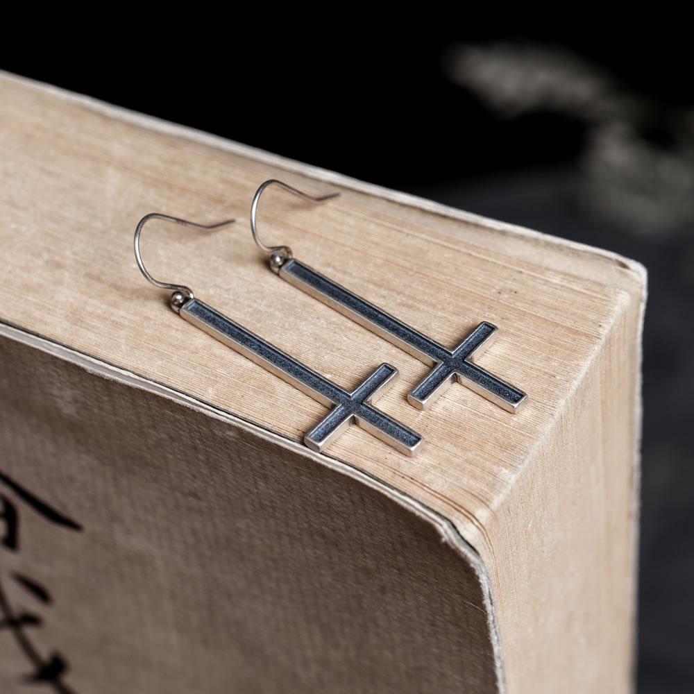 Sonho 925 prata esterlina invertido cruz gótico satânico religioso brincos orelha pingente venda direta gratuitamente