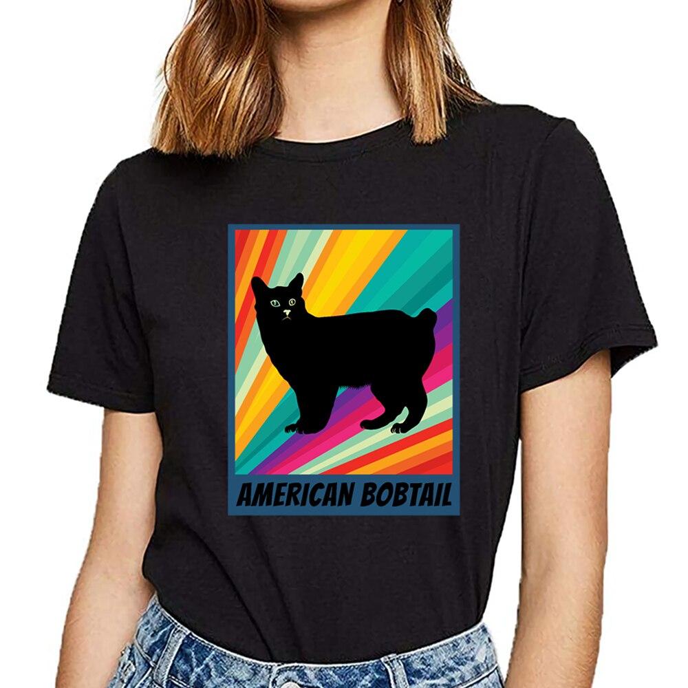Camiseta femenina personalizada negra con diseño bobtail americano para mujer