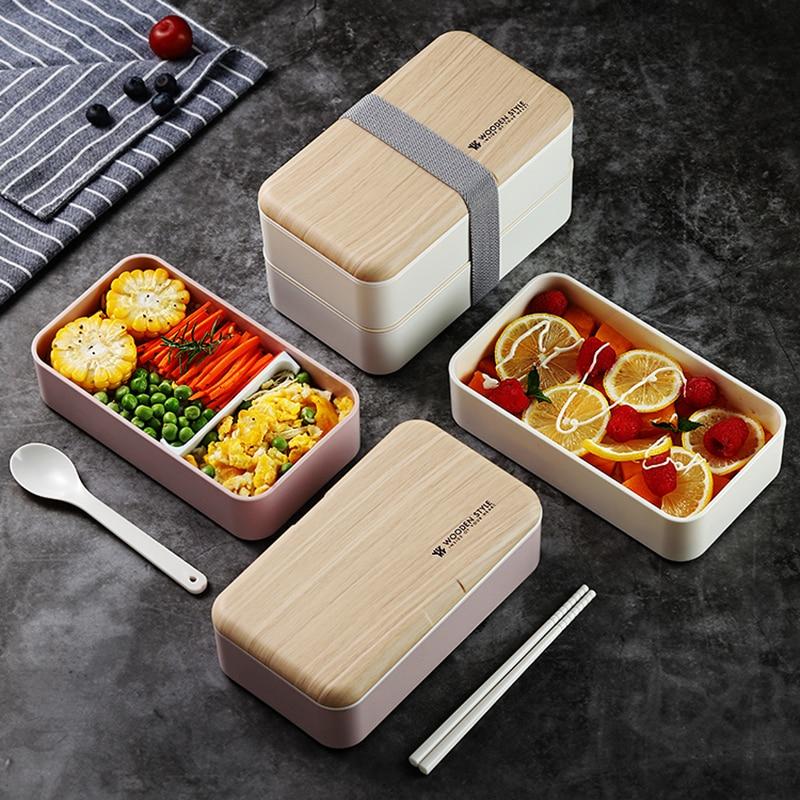 Двухслойный Ланч-бокс для микроволновой печи, деревянный стиль, бэнто-бокс, портативный контейнер, бокс без БФА