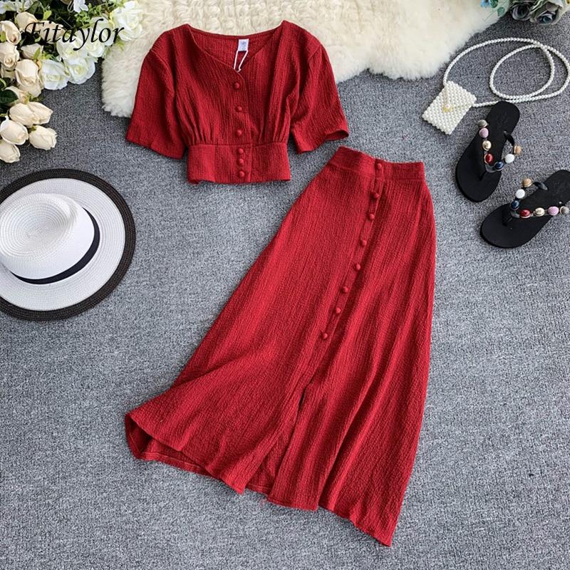 Fitaylor nuevo conjunto de dos piezas para mujeres verano cuello pico manga corta túnica cintura Crop Tops + alta cintura trajes de faldas largas