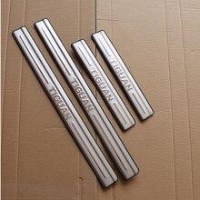 De alta calidad de acero inoxidable Umbral de puerta protectores de placa de desgaste protector Umbral de puerta s ajuste pedal coche accessori para Volkswagen Tiguan