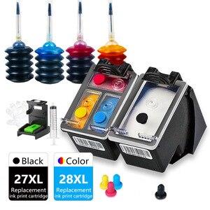 27XL 28XL Deskjet 3320 3322 3420 3425 3450 3520 3520v 3550 3620v 3650 v Printer Ink Cartridge Replacement for HP Inkjet 27 28 XL