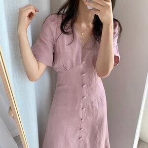 2021 Summer Women's Clothing Korean Temperament Waist Slimming Dress V-Neck Retro Knee-Length Mid-Length Ladies Bellflower Skirt
