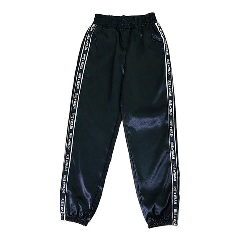 LOOZYKITWomen קיץ גדול כיס סאטן להדגיש מכנסיים מבריק ספורט סרט מכנסיים BF Harajuku רצים ספורט מכנסיים כושר חותלות