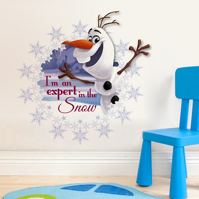Dibujos Animados Frozen Olaf Anna pegatinas de pared para la decoración del hogar niños habitaciones decoración de pared PVC arte divertido 3D Ver cartel de película de Mickey