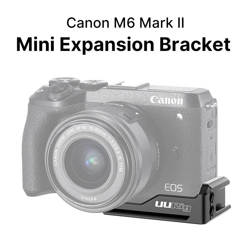 Uurig r057 placa de sapata fria suporte para canon m6 mark ii tiro vertical vlog placa para microfone led luz
