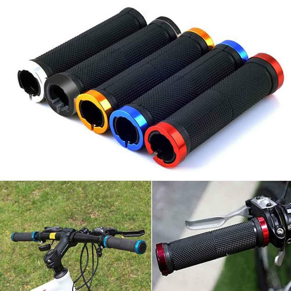 1 Pair MTB Road Cycling Handlebar Grips Anti-Skid Rubber Bicycle Grips Mountain Bike Lock On Bicycle Handlebars End Grips 1 pair bicycle handlebar grip ergonomic anti skid lock on handle cover aluminum alloy rubber grips mtb bike accessories