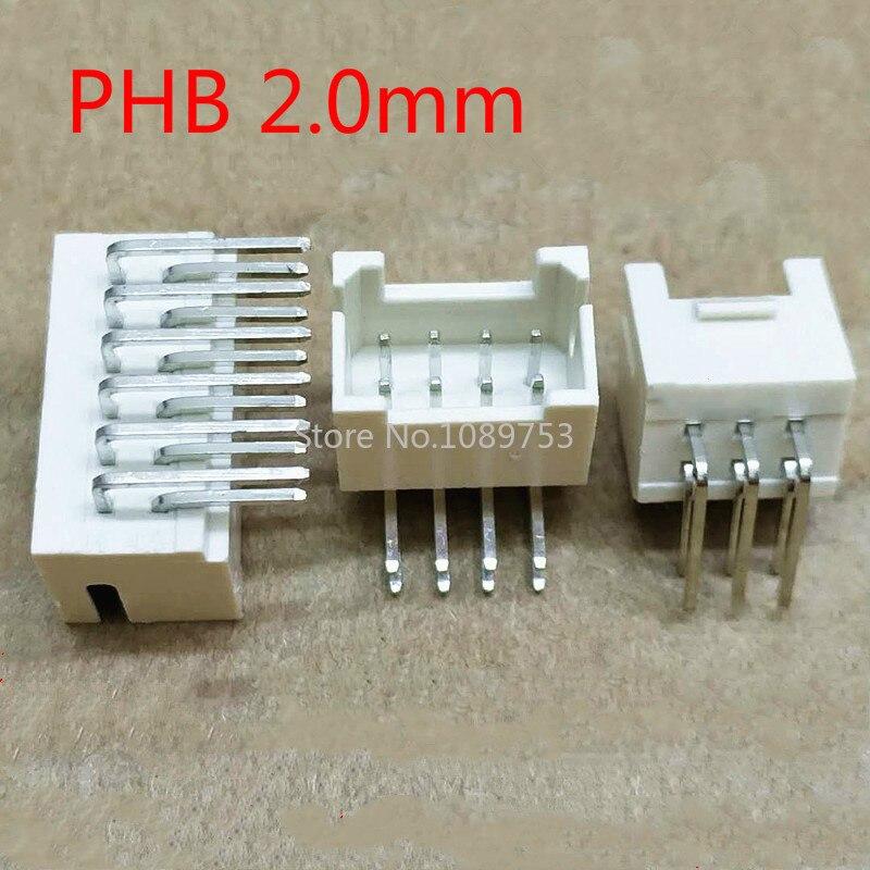 20 pces phb 2.0mm conector 2.0mm soquete macho ângulo direito fileira dupla com fivela phsd conectores 2*2/3/4/5/6/7/8/10 p