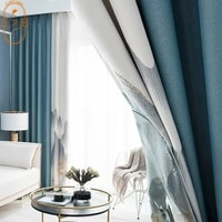 chinese classical landscape stitching curtains full blackout curtains for living room bedroom balcony curtains window screens
