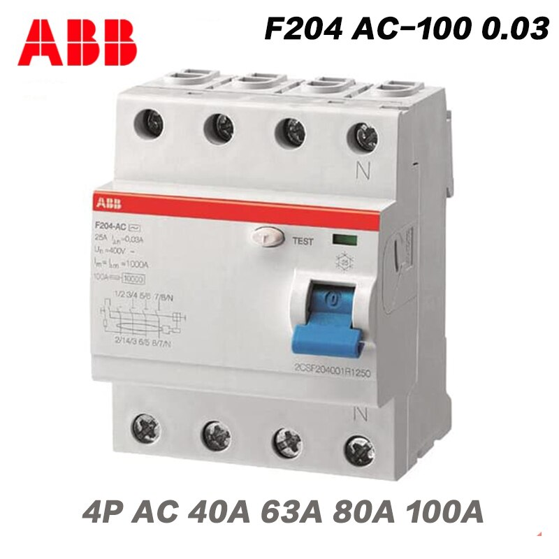 ABB Electric F204 AC-100 0,03, Mini Disyuntor de aire 30MA, interruptor de protección diferencial, dispositivo de operación de corriente Residual
