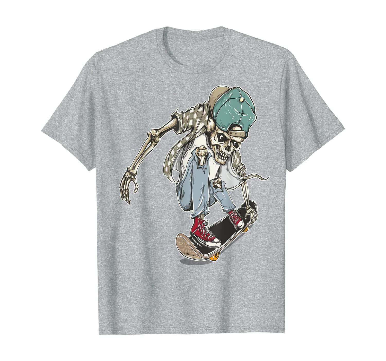 printio skateboard skull Skateboard Extreme Sports Skaters Skull Skeleton T- Shirt