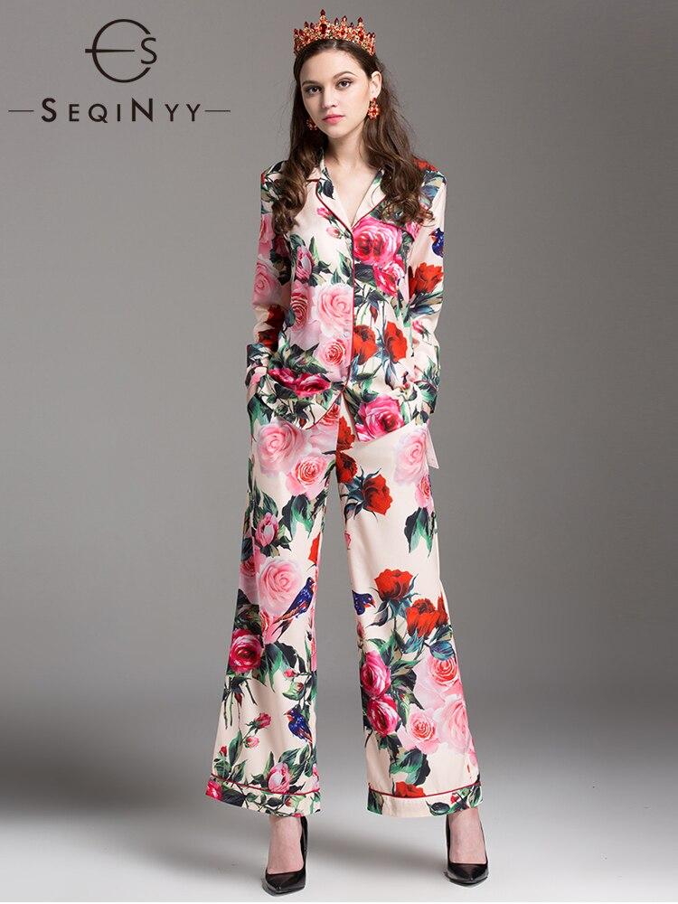 طقم بيجامة SEQINYY من قطعتين للنساء, بيجامة نسائية مكونة من قميص بأكمام طويلة وسروال فضفاض طويل بطبعة ورود لربيع وخريف 2021