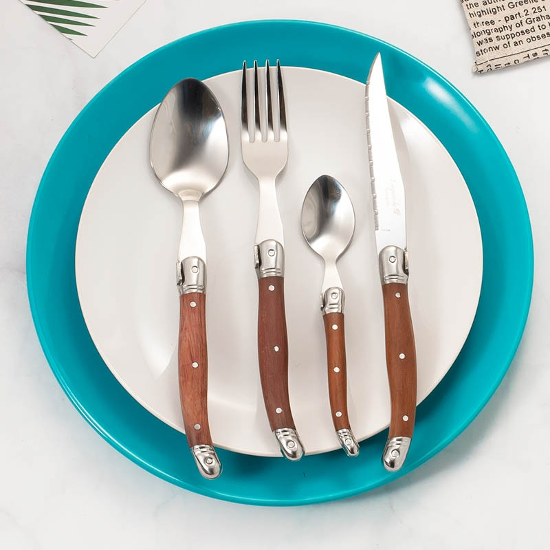 4 pçs laguiole conjunto de jantar aço inoxidável japonês talheres madeira lidar com bife faca garfo e colher colher colher chá presente natal pré venda