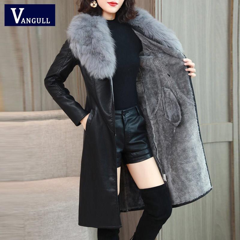 Vangull femmes veste en cuir pour lhiver 2019 nouveau Plus velours chaud mince grand col de fourrure Long en cuir manteau vêtements de dessus pour femmes M-4XL