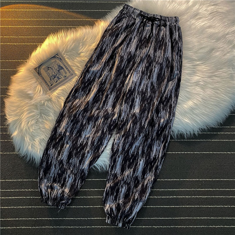 Net red super hot tie-dye casual sports pants female Korean version of the high waist student Harajuku bf wind high street pants