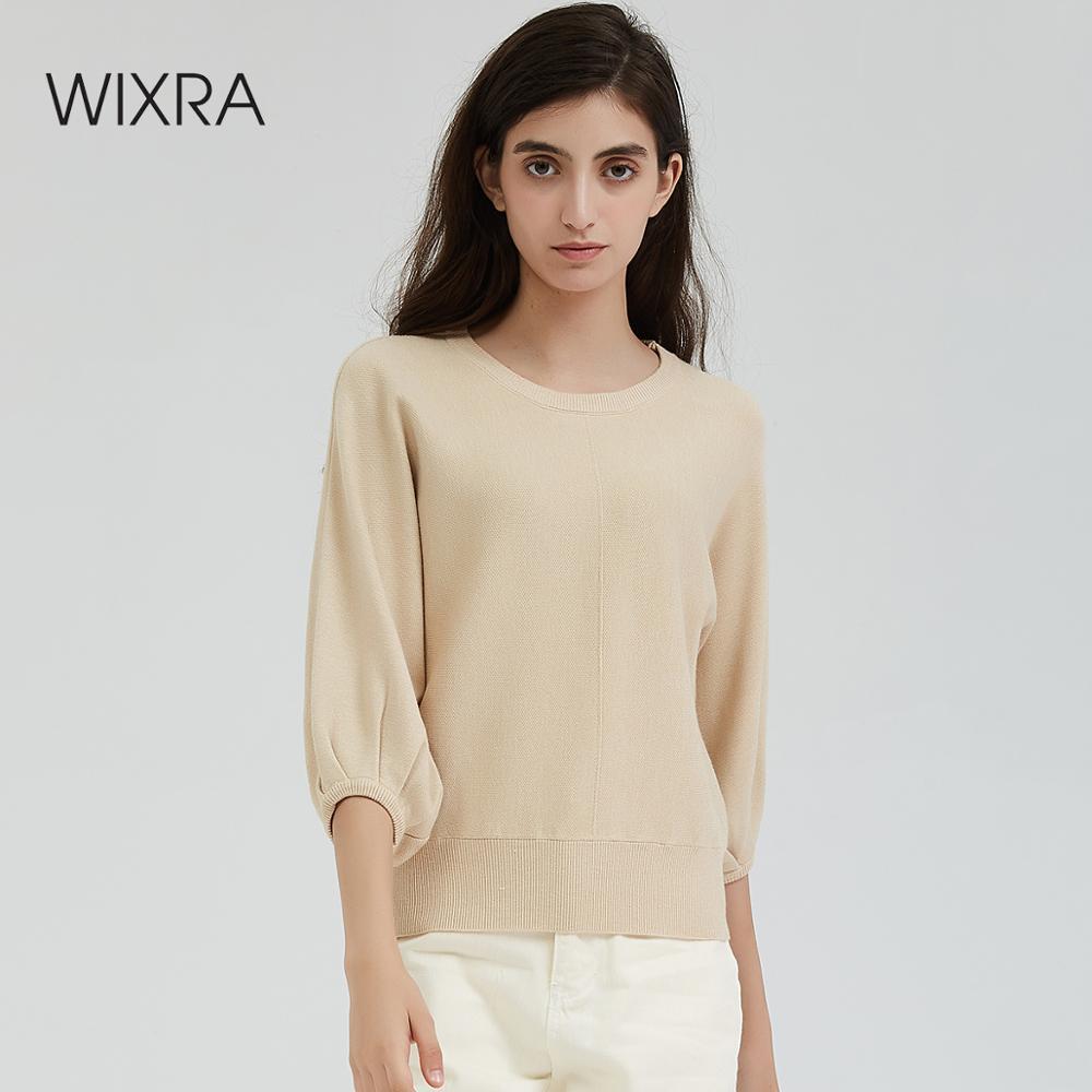 Wixra para mujer Jersey de punto Pullovers señoras Puff manga tapas cuello redondo suéteres Jersey Casual Streetwear 2019 Otoño Invierno