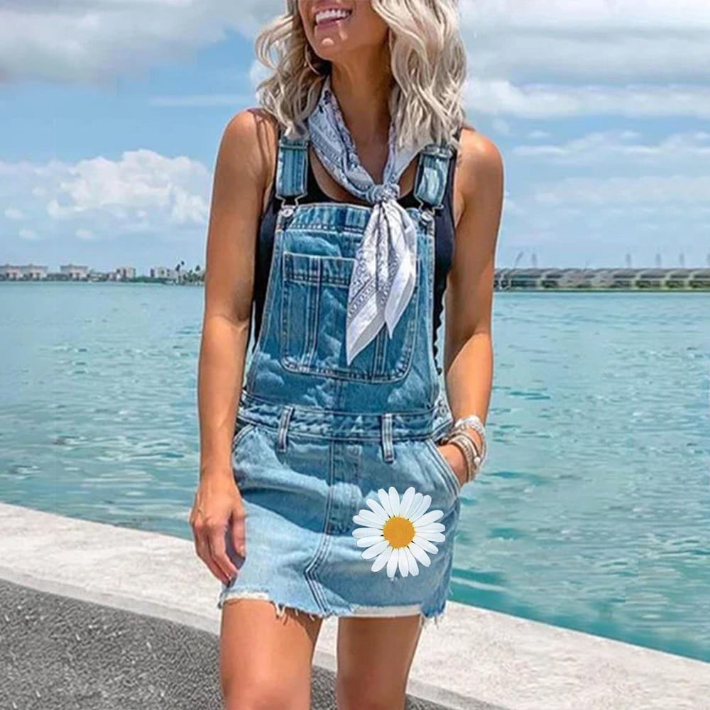 2020 EU Plus Size Jeans Dress Women Summer Washed Sleeveless Denim Dress Sundress Overalls Shorts Bodysuit Ropa Mujer Jumpsuit