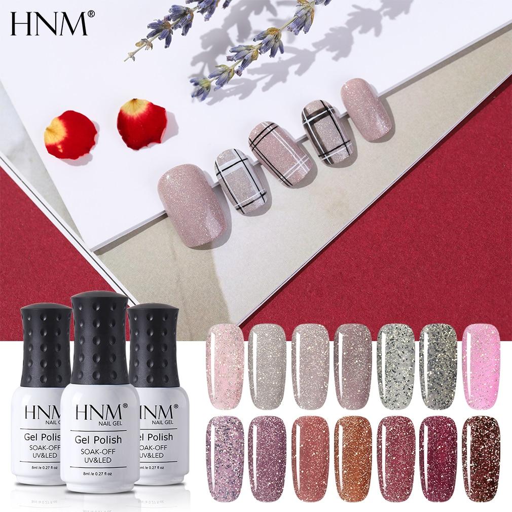 HNM Subtle Bling Gel Polish Soak Off Semi Perminent Nail Varnish Primer UV LED Gel Nail Polish Salon Manicure 8ML