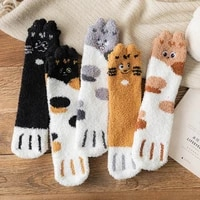 3 pairs winter cute cat paw cartoon animals pattern cotton woman floor socks gifts for ladies crew sox with very fast shipping