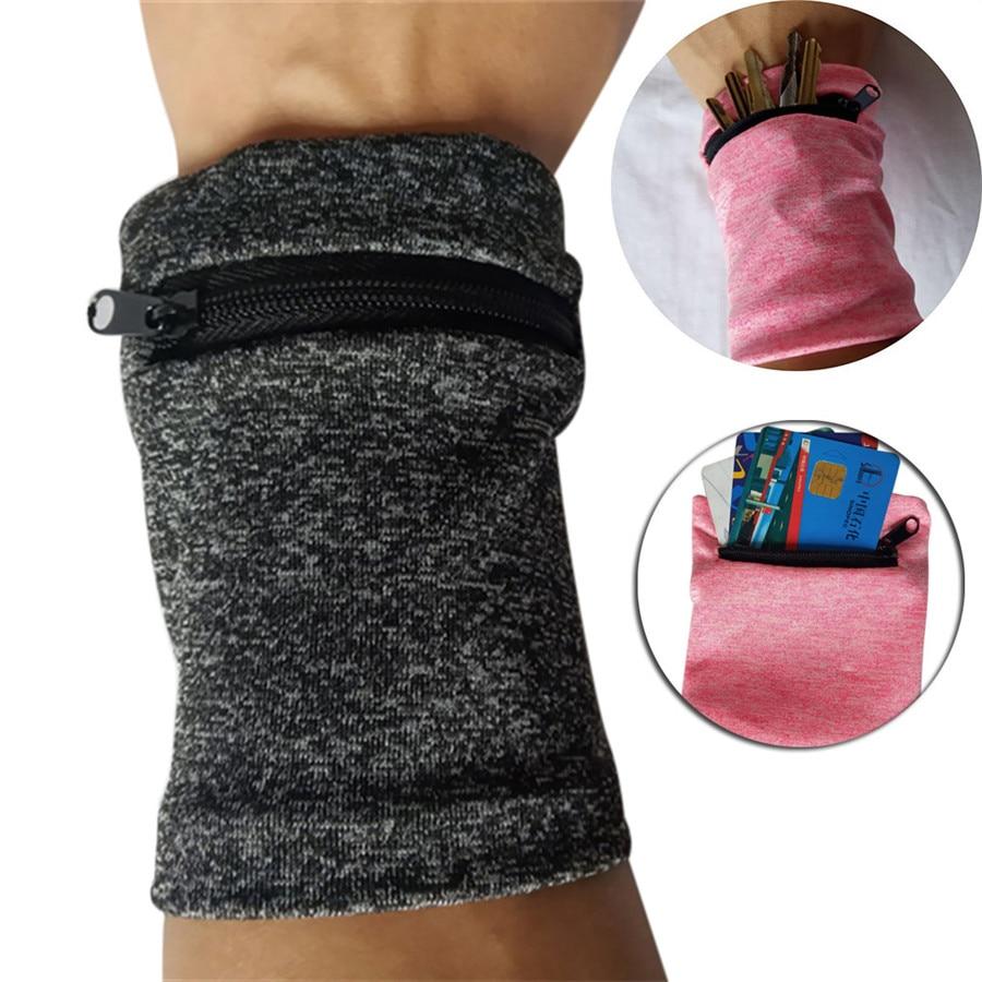 Saco de pulso multifuncional esportes verão respirável zíper tornozelo envoltório cinta de pulso cinto carteira de armazenamento suor-absorvente respirável