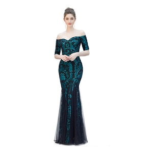 Evening Dress Long Sequined Lace Mermaid Formal Gown Elegant Off The Shoulder Backless Robe de Soiree Misshow Women Party Dress