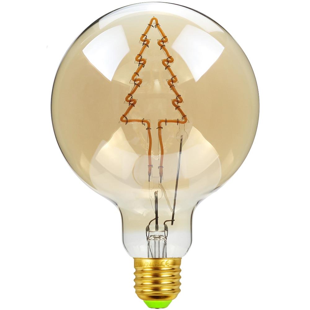 TIANFAN Led Bulb Vintage Light Bulb G125 Big Globe Chrsitmas Tree Led 4W  Dimmable  Table Lamp Decorative Bulb 110V 220V