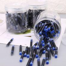 100 Uds Jinhao negro Universal fuente azul pluma tinta saco cartuchos 2,6mm recambios de la Oficina de la escuela papelería X6HB
