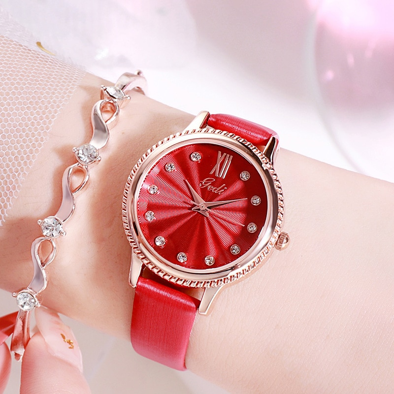 Gedi Ladies Watch Water Resistant Luxury Brand Leather Strap Rhinestone Women Watches Dress Relogio Feminino Gift for Women enlarge