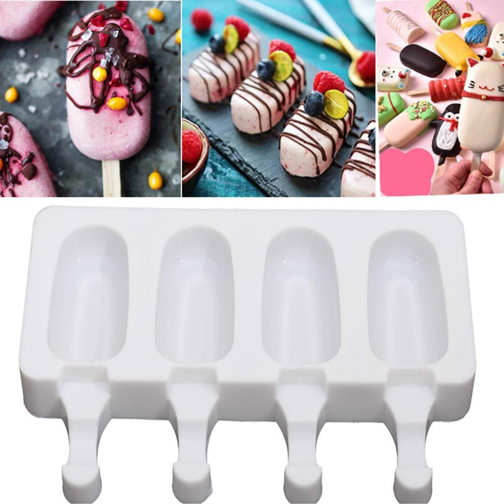 4 grade de silicone reutilizável molde caseiro grau alimentício congelador congelado fabricante de sorvete sobremesa molde diy barra que faz não-tóxico inodoro