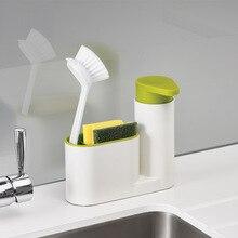 Distributeur distributeur de savon éponge   Magasin de cuisine, support pour nettoyage étagère brosse de lavage, évier détergent bouteille organisateur de cuisine Gadgets