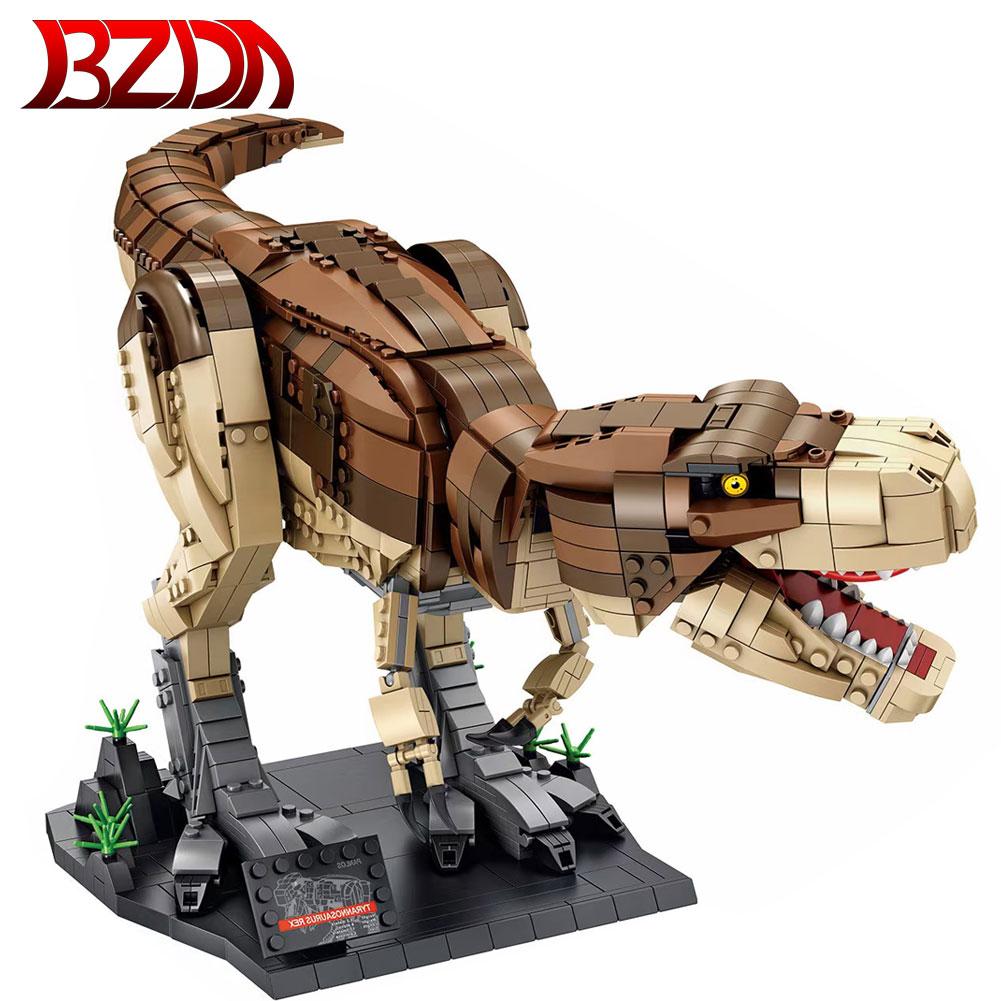 BZDA الحديقة الجوراسية T. rex الهيجان اللبنات ديناصور العالم نموذج تيرانوصور البناء الطوب الفتيان اللعب هدية عيد ميلاد
