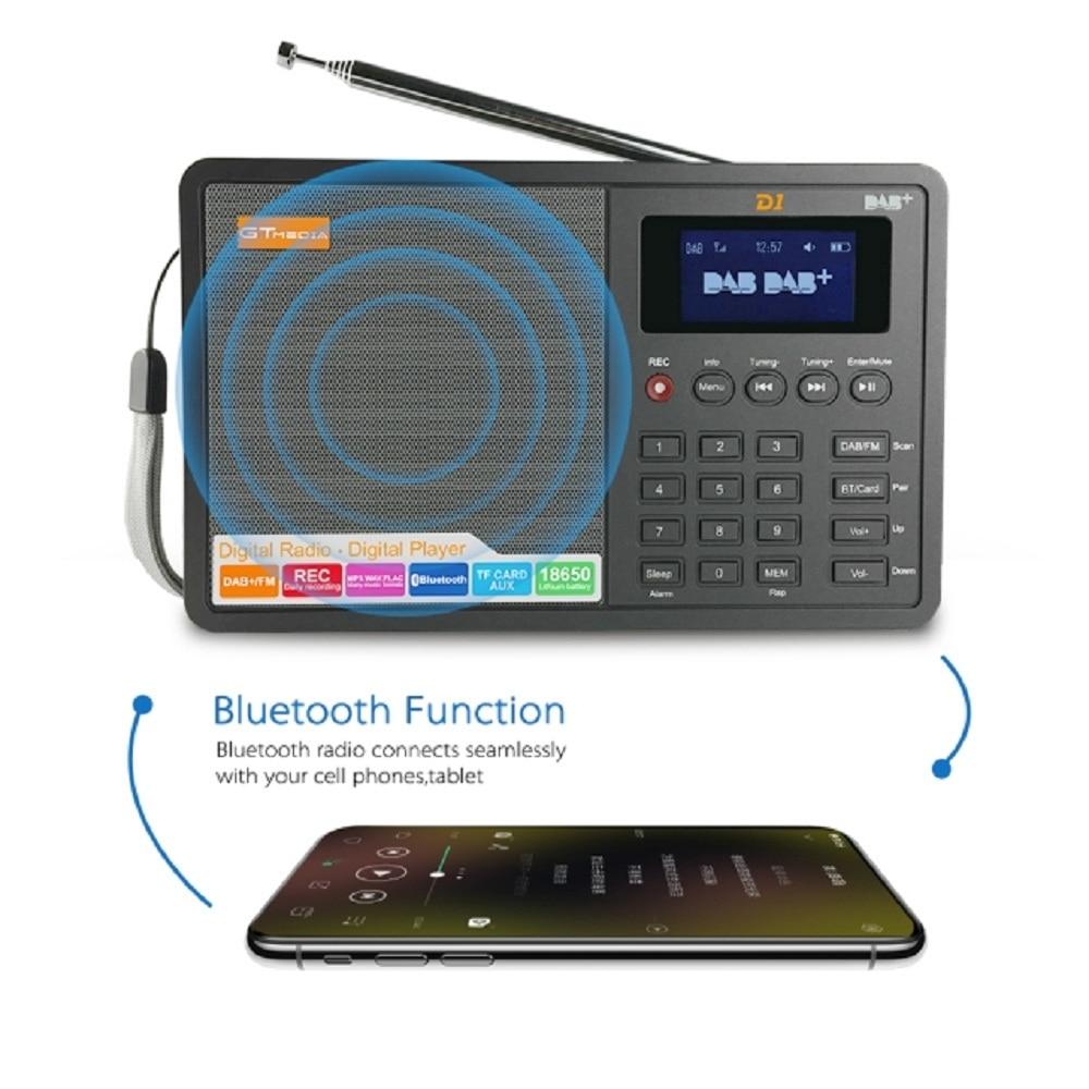 D1 Portable Digital Radio FM DAB+/FM/BT/Card/AUX Multi Band Radio Speaker with LCD Display Alarm Clock Radio enlarge
