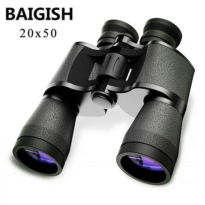 Baigish 20x50 binoculares militares Hd potente Spyglass telescopio de alta claridad Bak4 prisma Lll visión nocturna para caza Camping