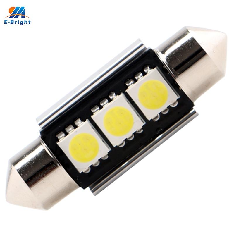 100PCS C5W Festoon Canbus LED 5050 3 SMD Reading Dome Lights 12V 36mm 39mm NO Error 6000K White Car Auto Bulbs Interior Light
