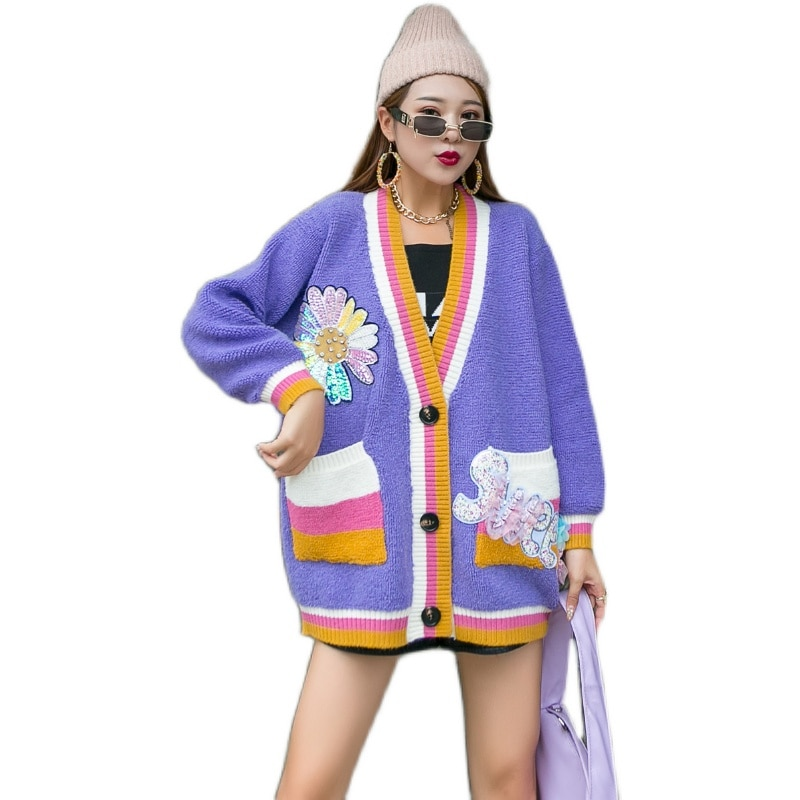 Women Casual Autumn Knitted Jacket and Coats Single Breasted Loose Cardigan Rainbow Jumper 2021 Spring Oversized Sweater Tops