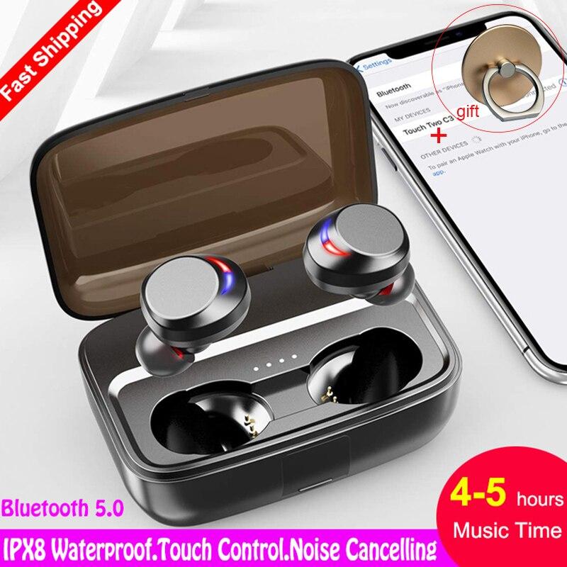 Auriculares IPX8 impermeables para natación 5,0, auriculares Bluetooth en el oído, auriculares estéreo CVC 8,0 + caja de cargador de 3000mAh