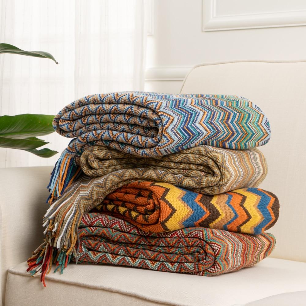 OLIVE Knit Stripe Blanket Super Soft Bohemia Blanket For Bed Throw Blanket With Tassel Plush Velvet Warm Decorative Blankets