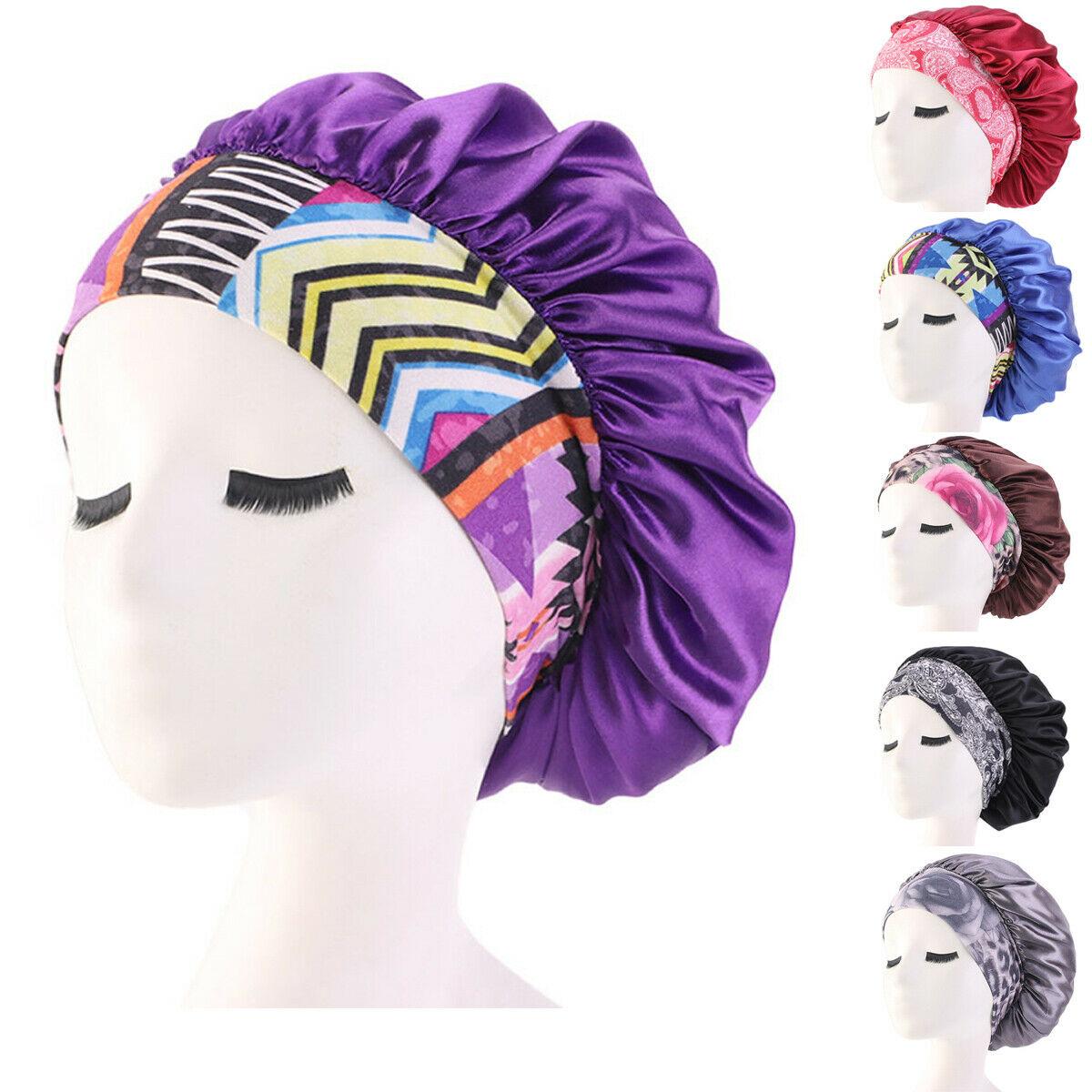 2020 New Hot Fashion Women Satin Night Sleep Cap Hair Bonnet Hat Silk Head Cover Print Wide Elastic