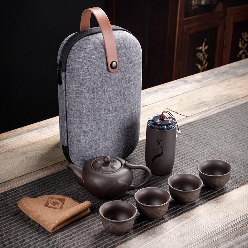 Purple Clay Kung Fu Teapot 230ml Chinese Porcelain Yixing Zisha Tea Pot 4 Cups Travel Cup Handmade Set