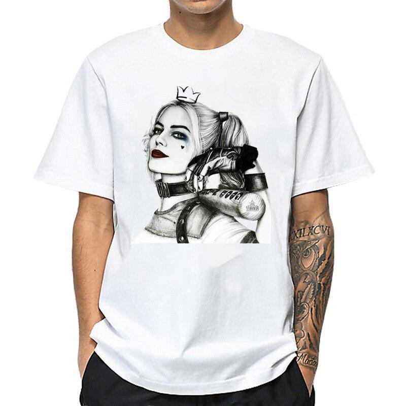 Camiseta Men Cool Harley Quinn T Shirt Summer Funny Suicide Squad Graphic T-Shirt Harajuku Female Tee Tops Hip Hop Streetwear