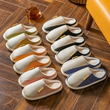 Autumn And Winter Cotton And Linen Men Cotton Slippers Plush Warm Home Soft-soled Men Slippers Outdo