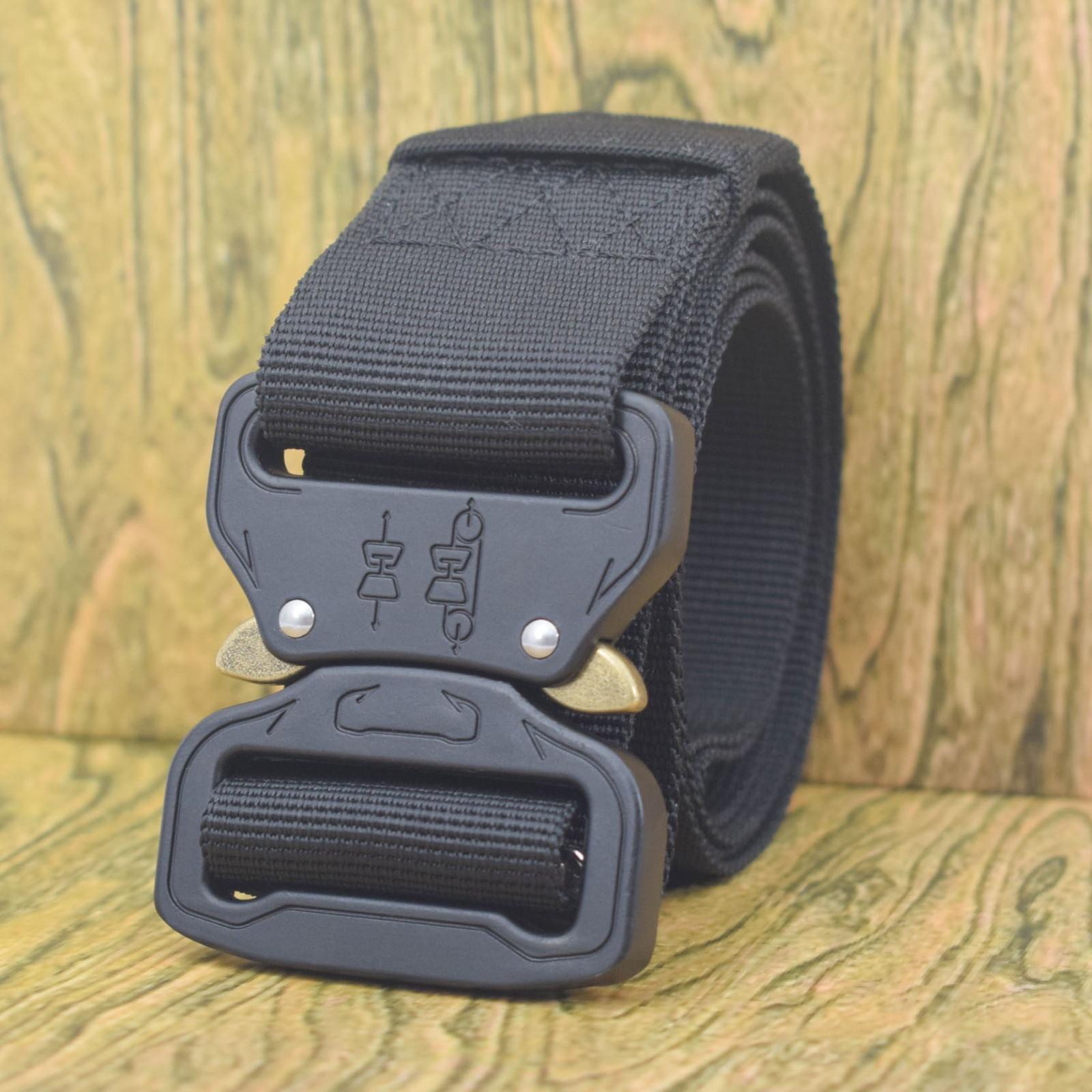 Cinturón militar de nailon para adiestramiento al aire libre, Correa táctica para hombres, cinturones elásticos para hombre, pantalones ajustables, cinturones, pantalones, cinturón de lona WY