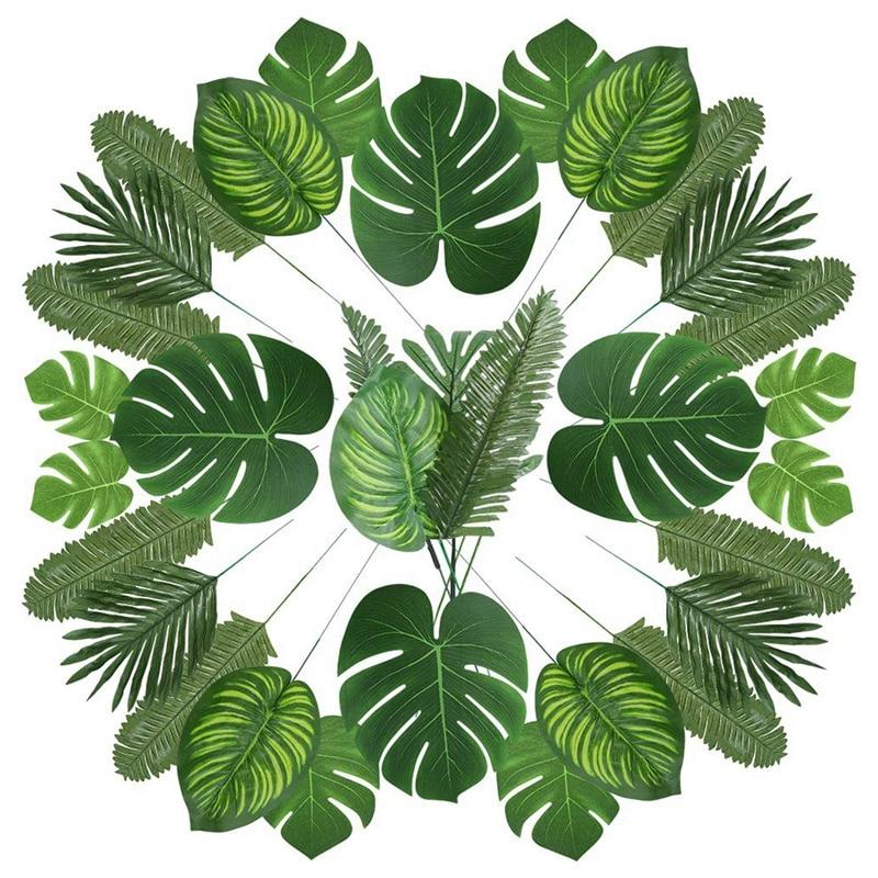 Hojas de palmera artificiales nuevo-90 con tallo para decoración de fiesta Tropical hojas de palma para aniversario de la selva Aloha