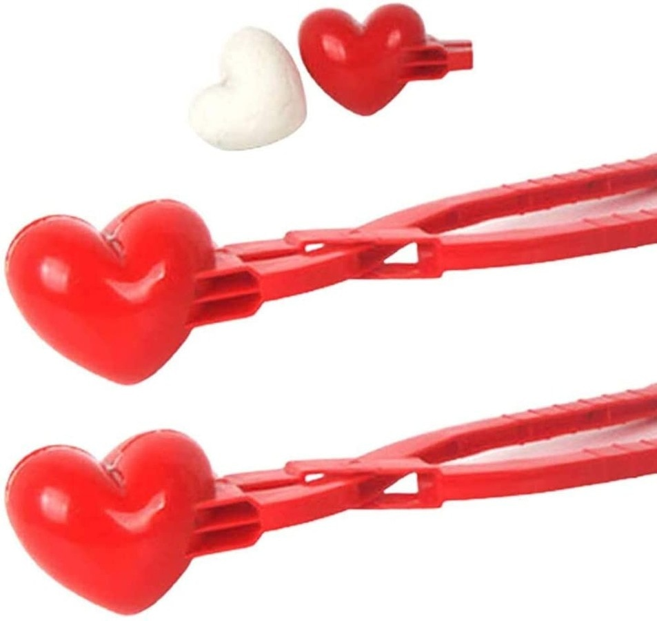 2PCS Heart Snowball Maker with Handle Snowball Making Tool, Used for Outdoor, Snowball Toys, Outdoor Toys, Parent-Child Toys