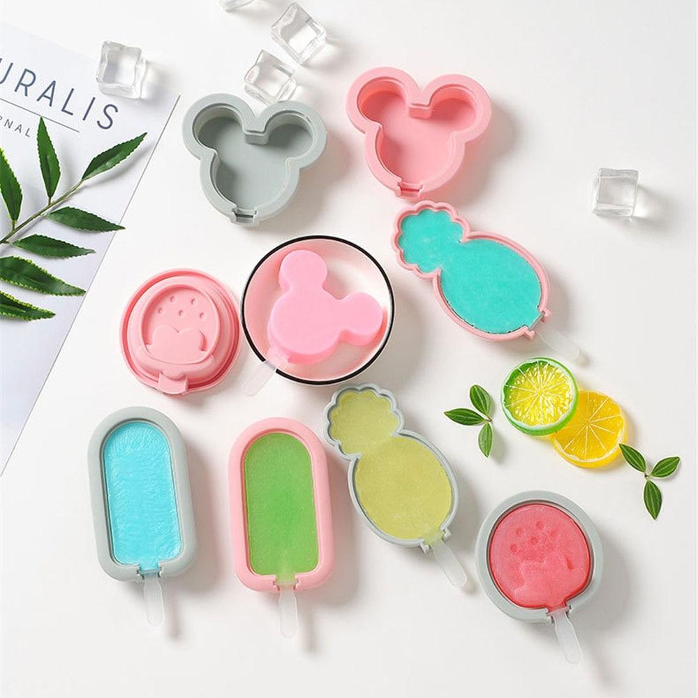 DIY moldes de paletas de silicona para helados, molde para hacer helados, molde para helados congelados con tapa de palitos de paleta, herramienta de cocina para verano