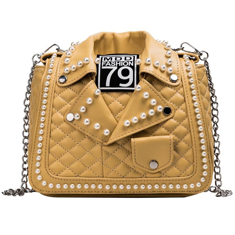 Novedad, chaqueta con perlas, bolso de hombro para mujer de cuero Pu, cruzados y bolsos bolso de mano, bolso de mensajero para mujer